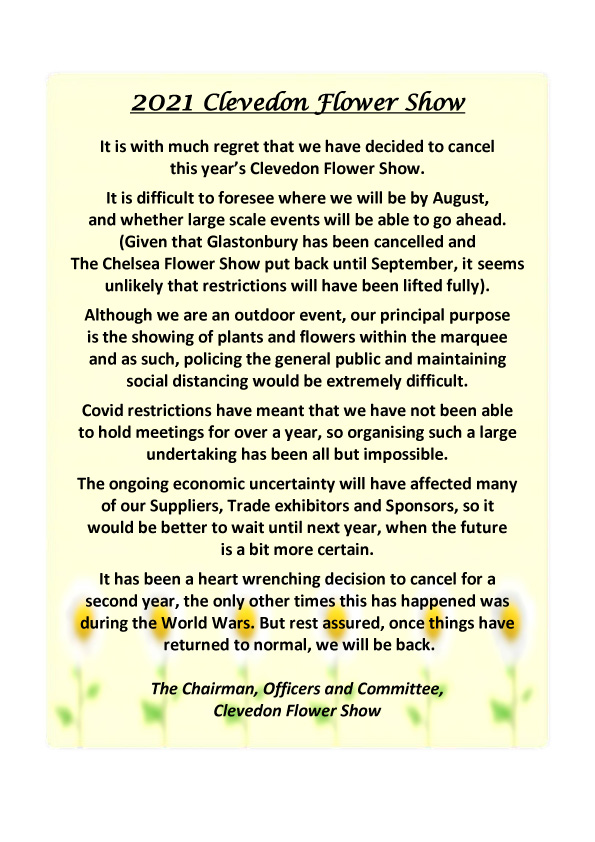 Cancellation announcement for 2021 Flower Show